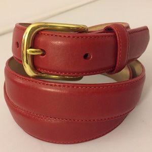 """Lands' End Red Pebbled Leather Belt L 36"""""""