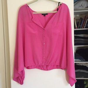Rachel Zoe Batwing Pink Silk Top