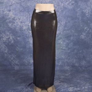 Black Silver Metallic Maxi Skirt Sz S