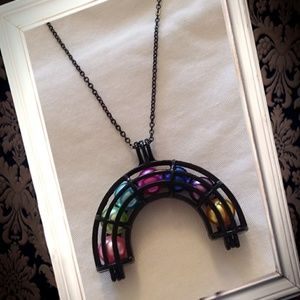 Black rainbow cage essential oil diffuser necklace