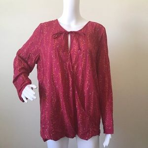 Lucky Brand XL Pink Floral Wrap Blouse Long Sleeve