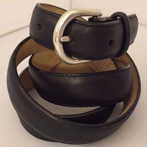 """Lands' End Black Pebbled Leather Belt L 40"""""""