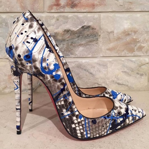344e3c1c26f Christian Louboutin So Kate 120 Python Snake Blue Boutique