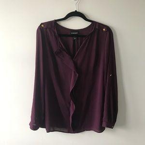 Lane Bryant Purple Blouse Top w/ Gold Buttons