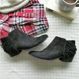 Sam Edelman Circus black fringe ankle boot