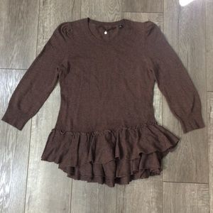 Anthropologie knitted&knotted brown peplum sweater