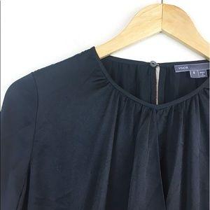 Vince Women's Blouse Size 8 Black Open Front
