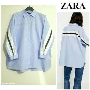 ZARA Oversized Blue Shirt with Large Stripe (New)