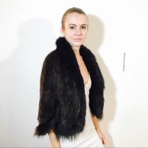 G. M. G. MINK FOX REAL FUR STOLE JACKET CAPE