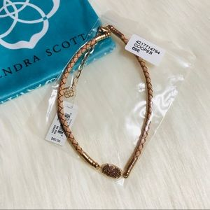 Kendra Scott Rose Gold Drusy Leather Cooper Choker