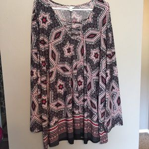 NWOT Flattering bell sleeves lace up look Tunic