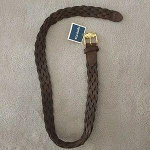 NWT Genuine Leather Braided Gold Buckle Belt