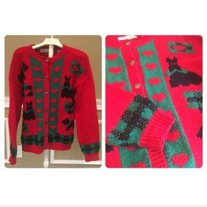 80s Scottie Dog long Cardi Ugly Christmas sweater.