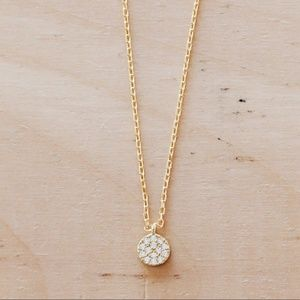 N1110 New Gold Sterling Tiny Pave Circle Pendant