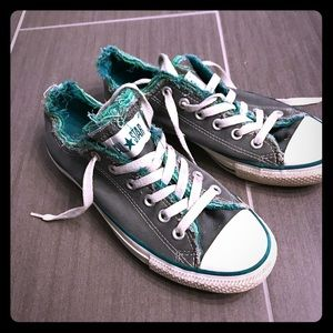 Converse shoes in green and grey