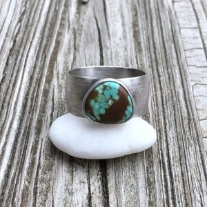 Turquoise Ring, Sterling Silver Ring, size 8.75