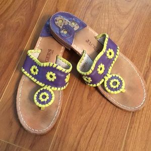 Jack Rogers Rare Purple & Yellow Leather Sandals