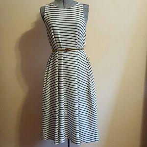 Zara Black and White Striped Knit Dress