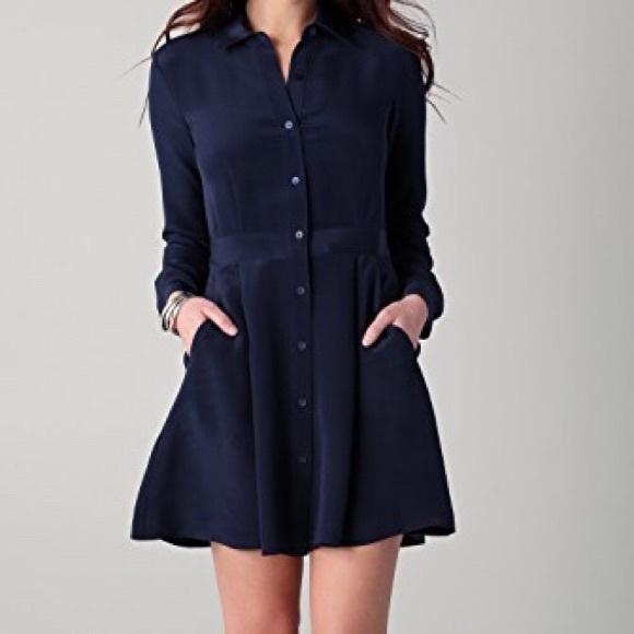 29305ce30d7652 Theory navy blue silk shirt dress. M 5a1717ab36d594c69d0355df