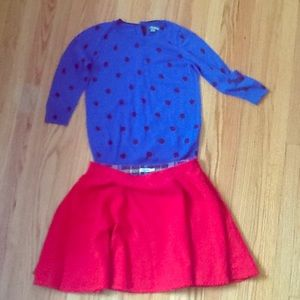 Boden knit top 6 US and Johnnie B skirt 6US