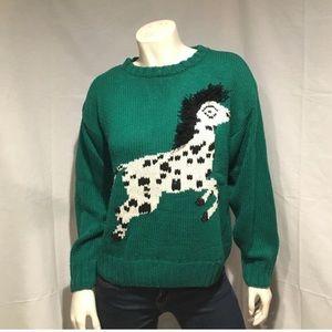 Vtg 3D Jantzen horse sweater