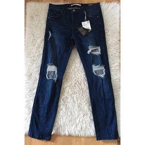 NWT Zara Distressed Ripped Damaged Skinny Jean