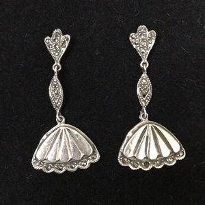 Vintage Sterling and Marcasite Fan Earrings