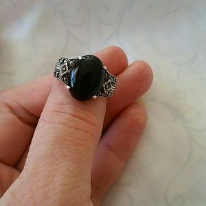 Genuine Onyx & Sterling Ring w/Marcasite
