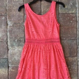 Forever 21 Lace Crochet Small Dress pink coral