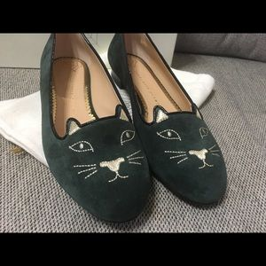 New Charlotte Olympia green suede kitty flats 40