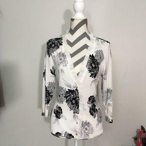 White house black market floral white cardigan
