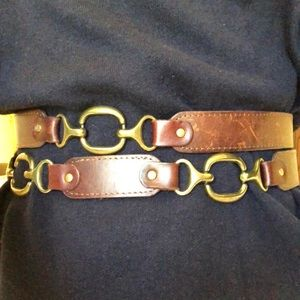 Brown leather and metal equestrian waist belt