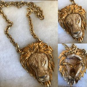 Vintage gold lion head necklace