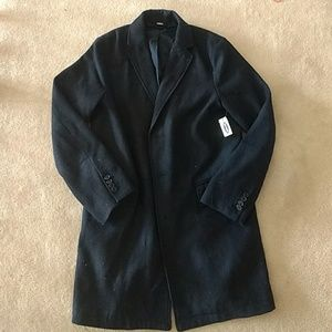 NWT Old Navy Navy Blue Long Wool Button Peacoat