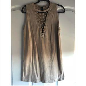 Nude Lace Up Shift Dress
