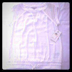 NWT Calvin Klein White Short Sleeve Top Sz M