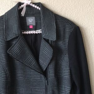 Vince Camuto Houndstooth Gray/Black Moto Jacket