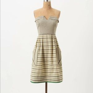 Anthropologie Changing Stripes Strapless Dress
