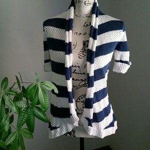 Blue Striped Cardigan Like New