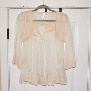 Anthropologie | Cream Embroidered Top