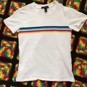 Rainbow stripe white tee Small