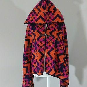 🆕 Bold Multi-Color Sweater Hooded Cape/Poncho