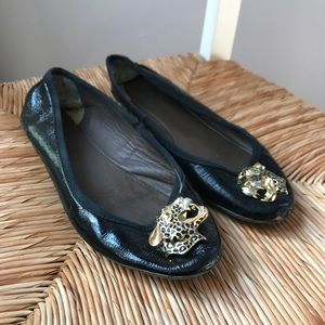 Black Topshop Patent Leather Flats w Gold Leopard