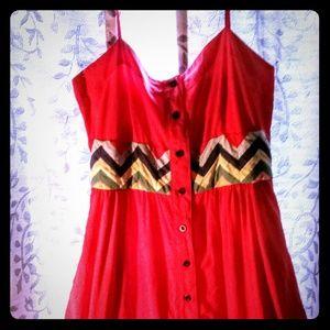 Anthropogie Lithe Dress Red