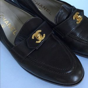 Chanel Mid-Heel Logo Loafers Brown Leather 7