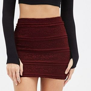 Burgundy lace skirt