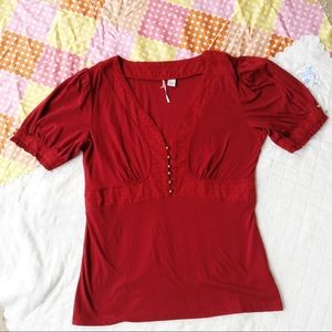 M / Anthropologie red V neck gold buttons top