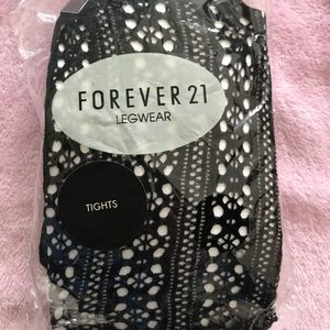 NEW Forever 21 Pattern Tights Lace Leggings Small