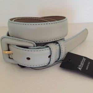"""Albatros Pale Blue Soft Leather 1"""" Wide Belt XL 1X"""