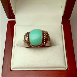 Large sterling turquoise ring size 10
